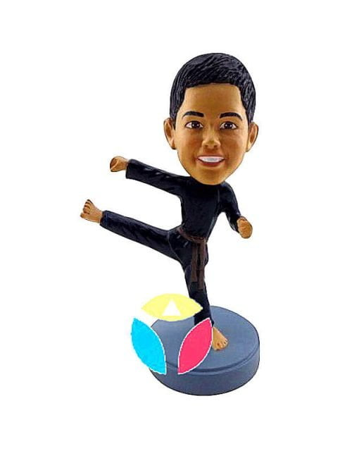Child Karate Punching One Leg Custom Bobblehead