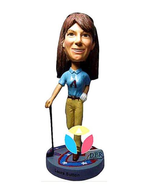 Custom Female Golfer Bobblehead Doll