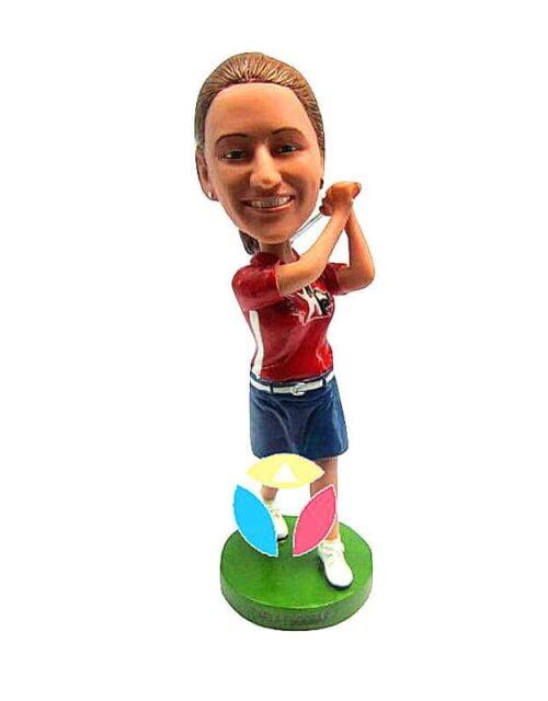 Female Golfer In Shorts Bobbleheads
