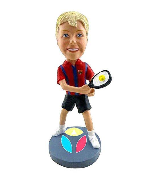 Custom Female With Tennis Bat Bobblehead Doll