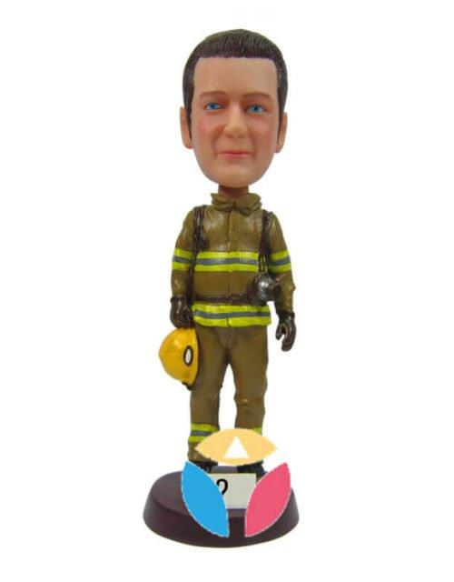Custom Firefighter Holding Helmet