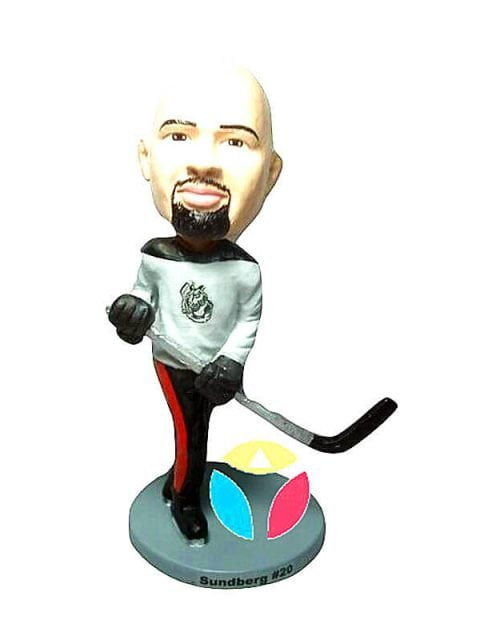 Custom Hockey Player In Black With A Stick