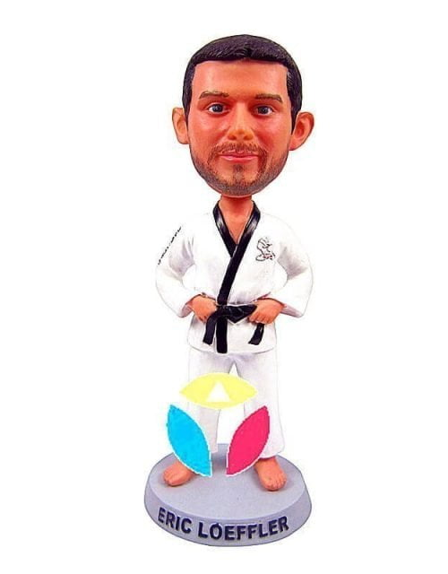Custom Karate Man Tightening Belt Bobble Head Doll