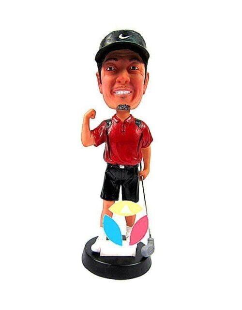 Custom Male Golfer With Club In Shorts