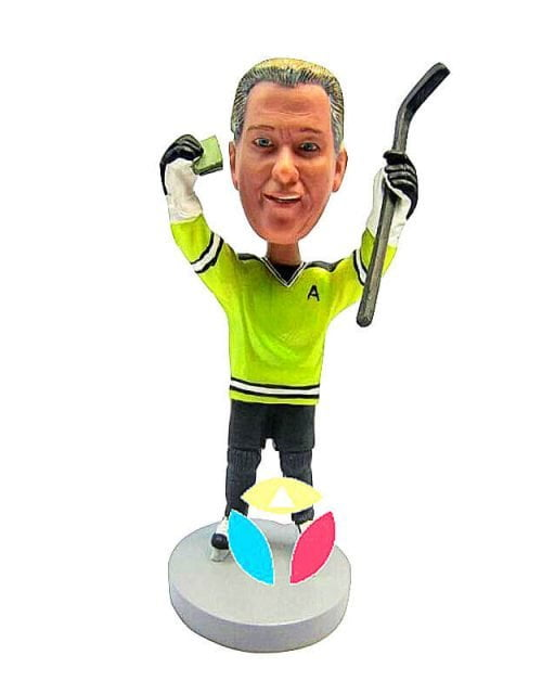 Hockey Player With Stick Bobble Doll