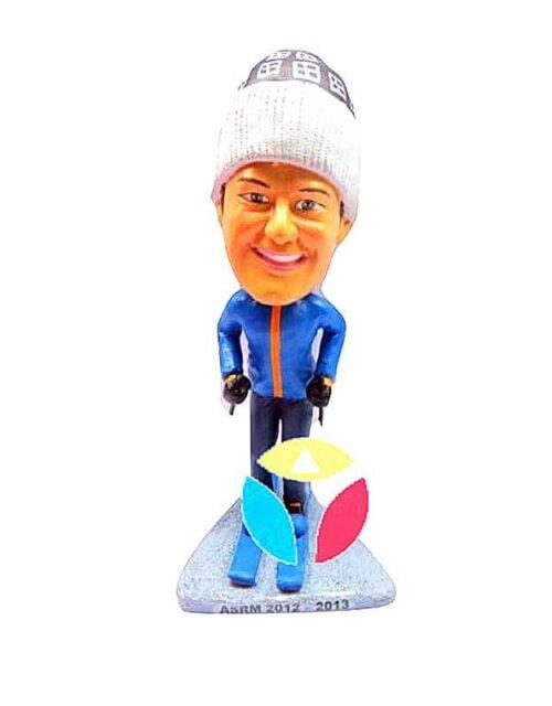 Custom Male Skiing Bobblehead Doll