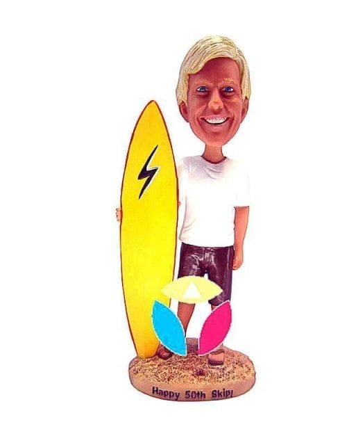 Custom Male With Surfboard Bobblehead Doll