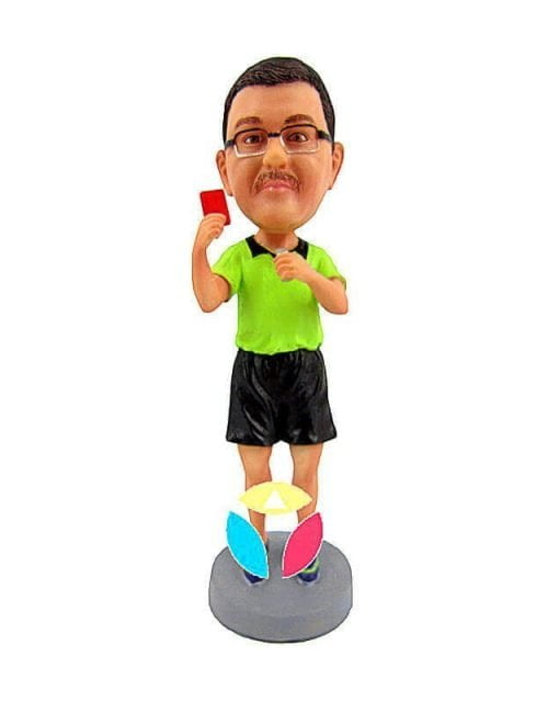 Custom referee Showing Red Card Bobblehead