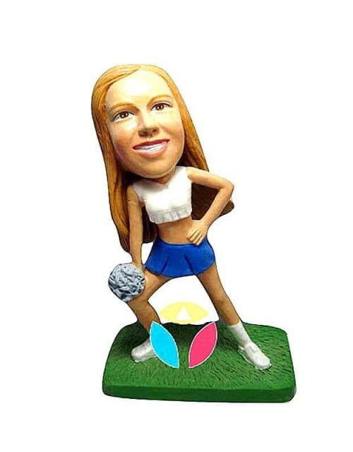 Personalized Cheerleader With Pom-pom Sport Bobbleheads
