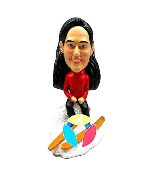 Personalized Female Skiing Bobbleheads