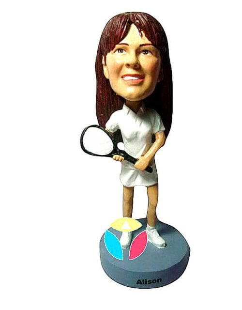 Personalized Female With Tennis Bat Bobblehead Doll