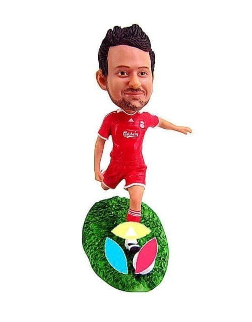 Personalized Male Kicking Ball Bobblehead Doll