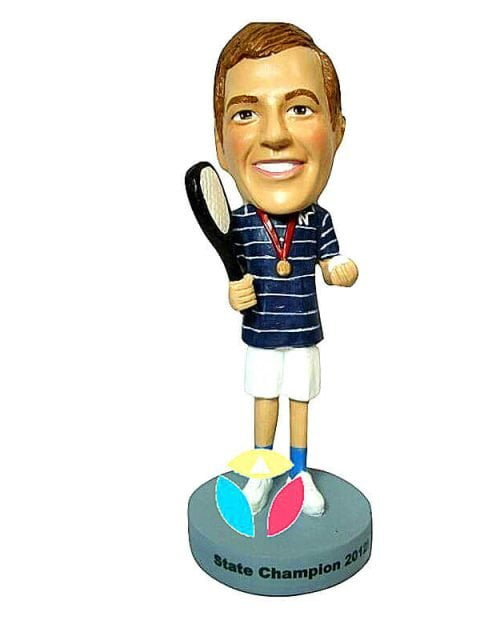Personalized Male Tennis With Medal Bobblehead Doll
