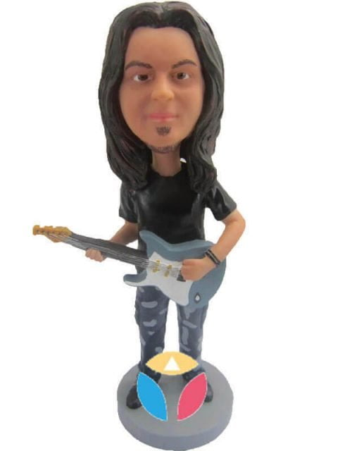 Rocker With Guitar Male Custom Bobbleheads