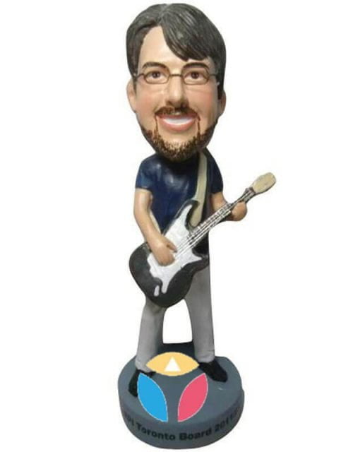 Rocking Bass Player Man Custom Bobblehead