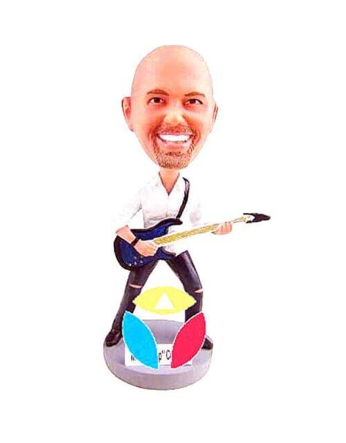 Rocking Bass Player Man Custom Bobbleheads