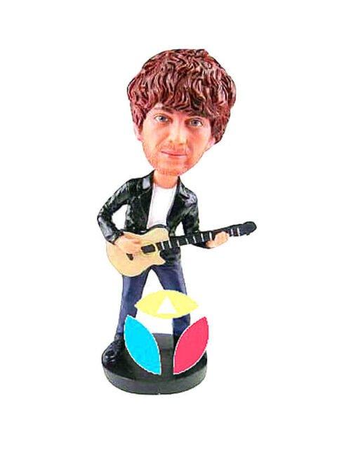 Rocking Bass Player Man In Open Shirt Custom Bobblehead