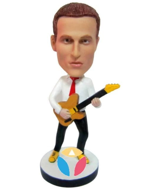 Rocking Bass Player Man With Tie Custom Bobblehead
