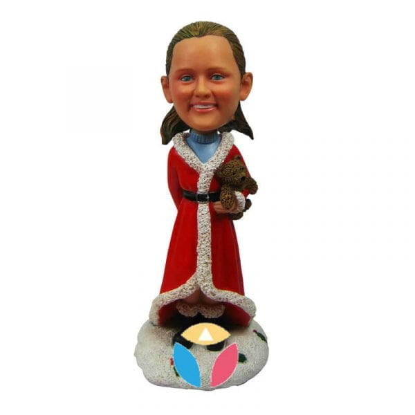 santa girl bobble head