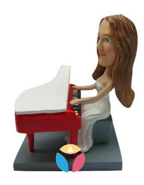 Tiny Female In Dress Piano Player Custom Bobblehead