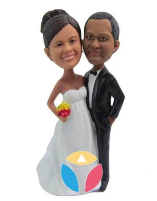 Black Suit With Arms Around Bride Wedding Bobbleheads