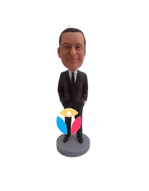 Businessman hands in pocket personalised bobblehead