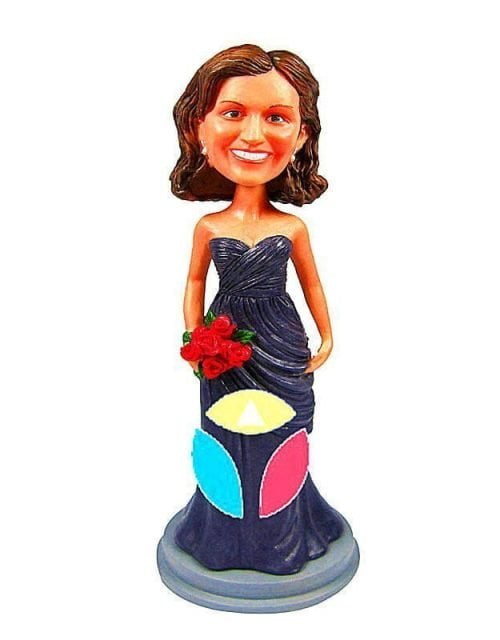 Custom Bride In Sleeveless With Bouquet Bobblehead