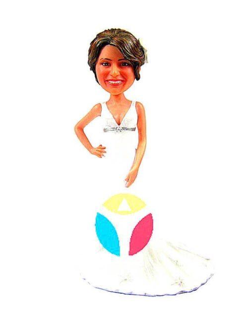 Custom Bride In V-Dress Bobblehead