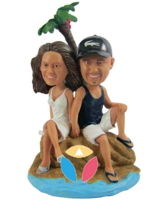 Custom Couple On The Beach Bobbleheads