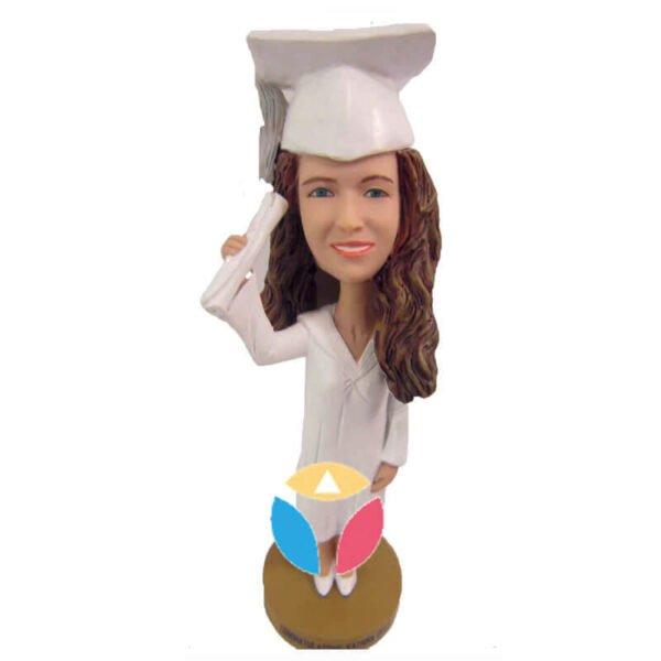 Custom Female Get diploma bobbleheads