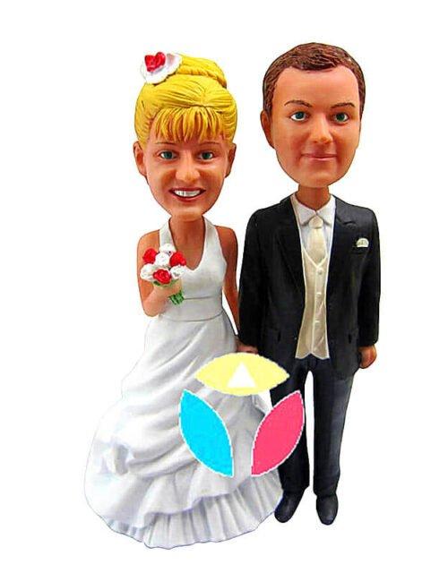 Custom Grey Suit Groom Wedding Couple Bobble Head
