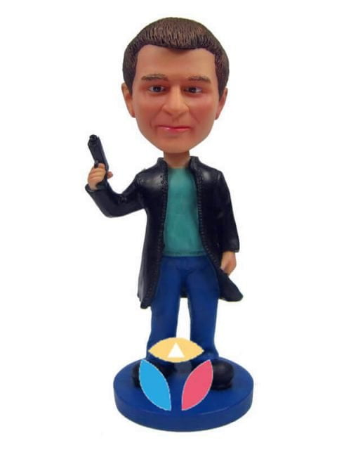 Custom Male Detective Bobble Head Doll