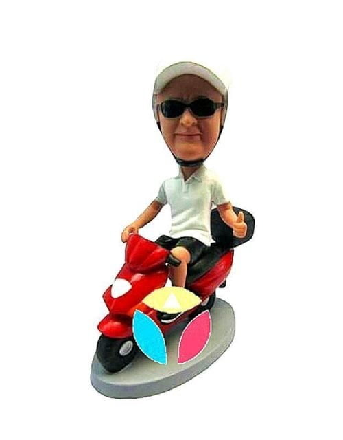 Custom Male Scooter Riding bobblehead Doll