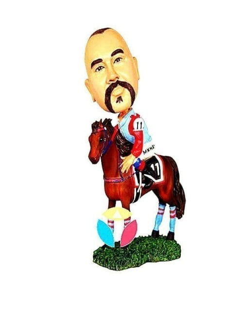 Custom Male l Riding On A Horse Bobblehead Doll