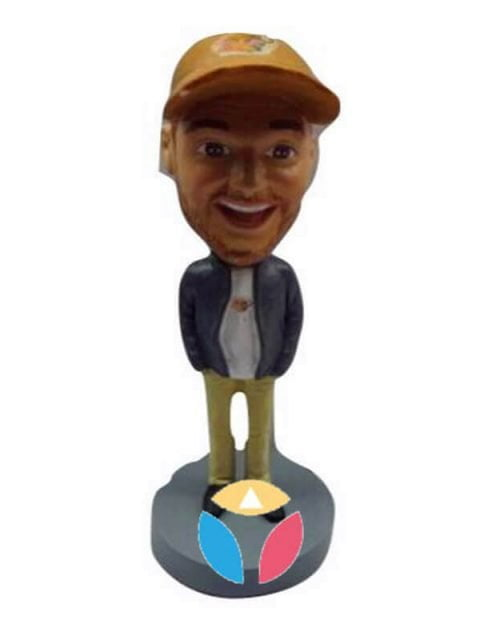 Custom Man In Jacket Bobble Head Doll