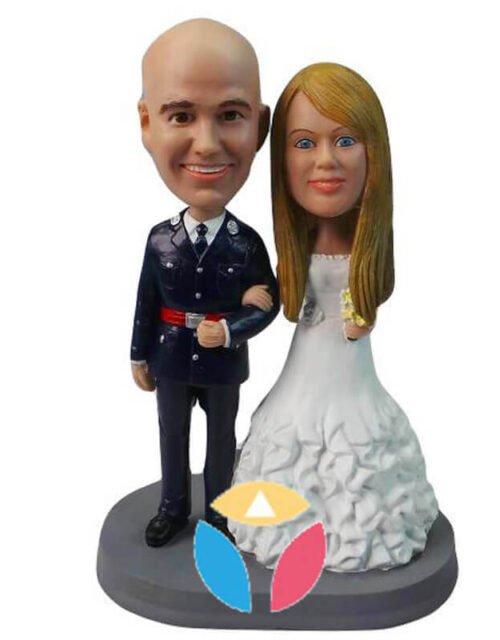 Custom Military Man Wedding Couple Bobblehead