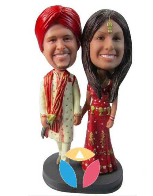 Customized Couple In Traditional Indian Bobbleheads
