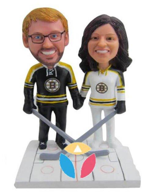 Customzied Hockey Couple Bobbleheads