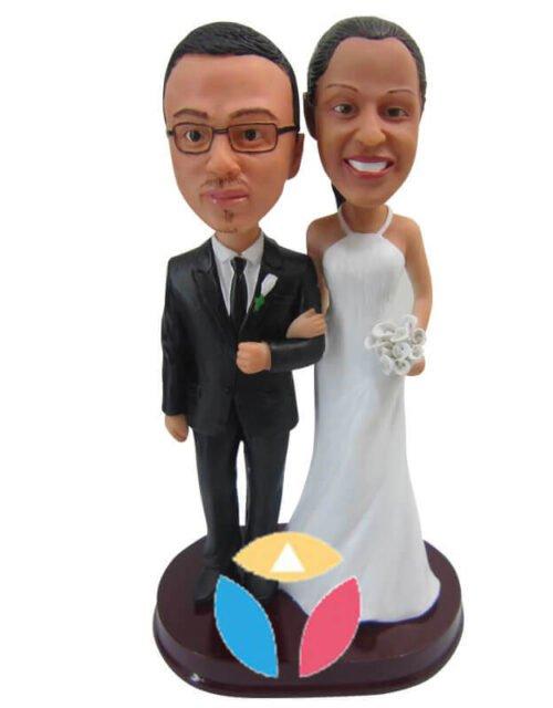 Frilly Wedding Dress Couple Custom bobblehead