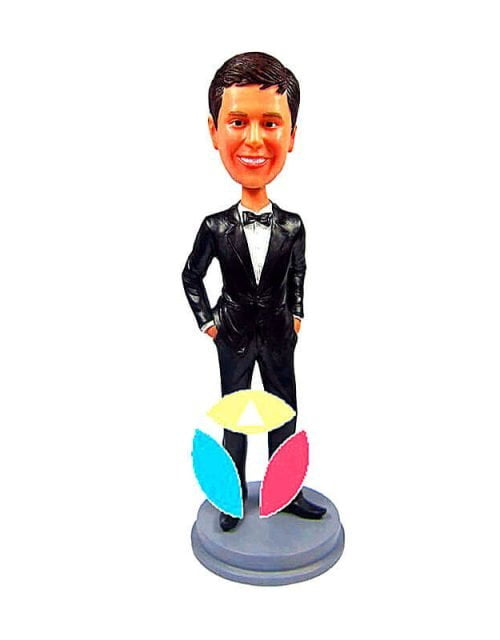 Groomsmen In Black Suit With Blue Tie Personalized Bobbleheads Dolls