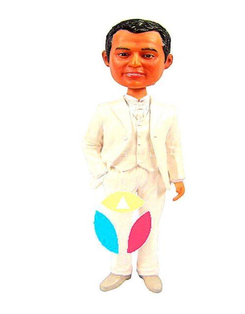 Groomsmen In White Suit Custom Bobbleheads Dolls