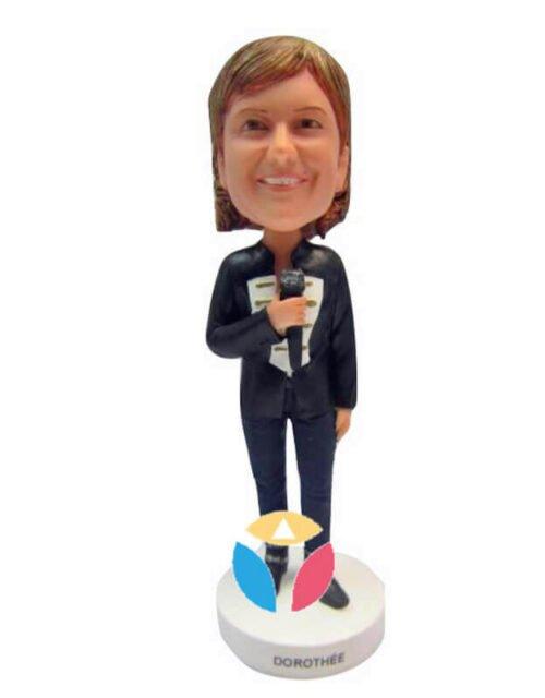 Holding Microphone Woman Custom Bobbleheads