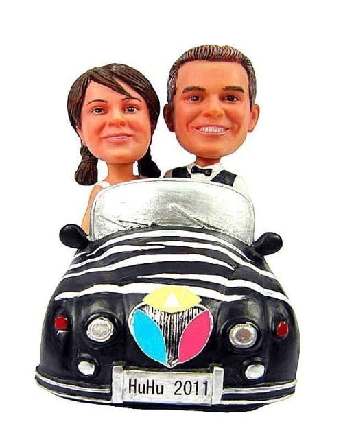 Husband And Wife In The Car Bobbleheads