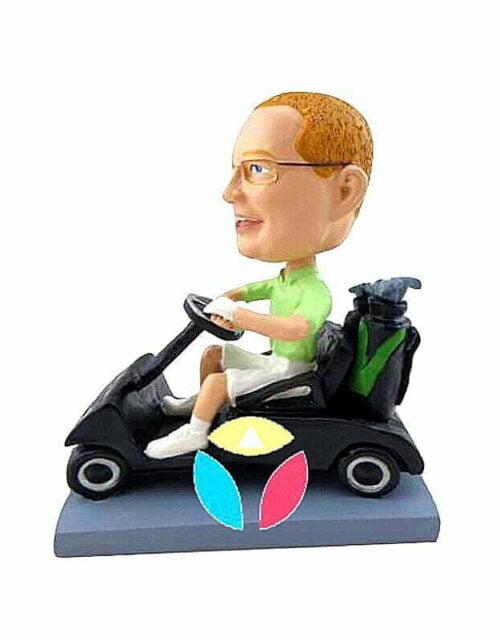 Male Golfer In Cart Custom Bobbleheads