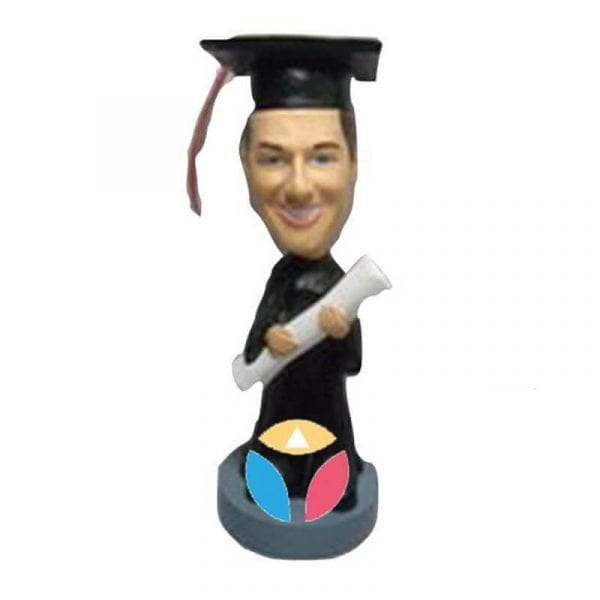 Male Graduate With Huge Degree Custom Bobblehead Doll