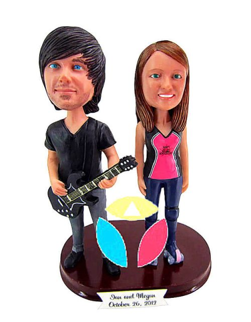 Male With Guitar And Female Couple Custom Bobblehead