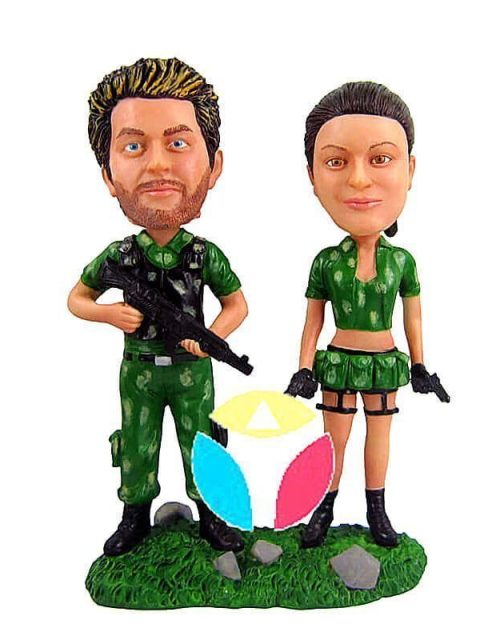 Military Couple With Weapons Custom bobblehead Doll