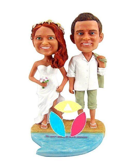 Personalized Beach Wedding Couple Bobble Head