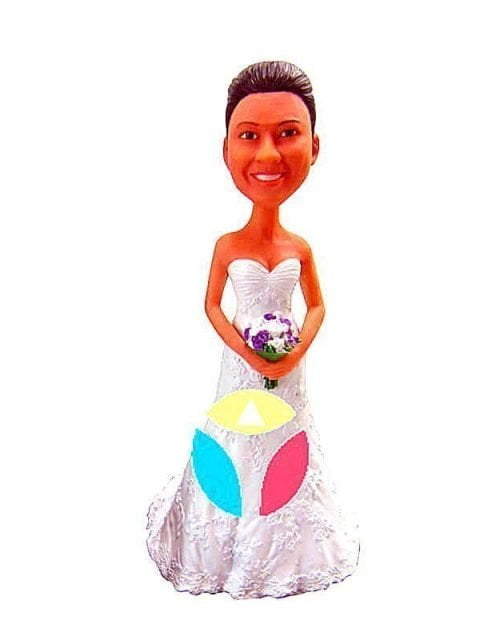 Personalized Bridal In White Gown Holding A Bouquet Bobblehead