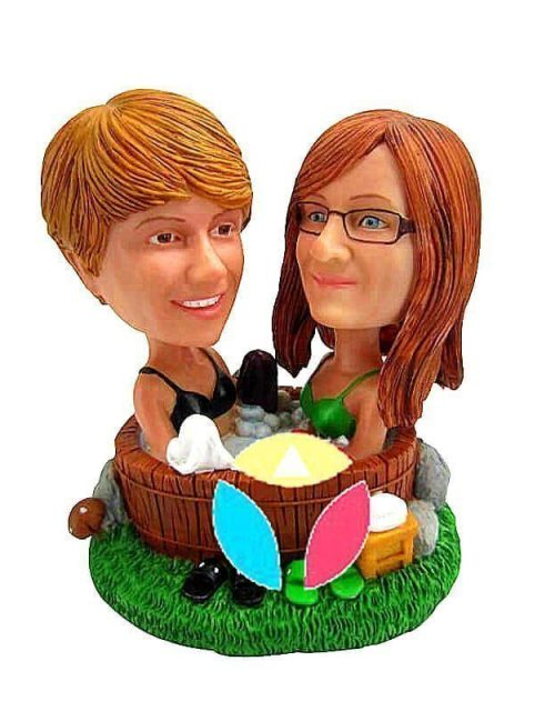Personalized Couple Friends In Hot Tub bobble Head